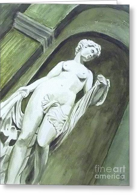 A Statue At The Toledo Art Museum - Ohio Greeting Card by Yoshiko Mishina