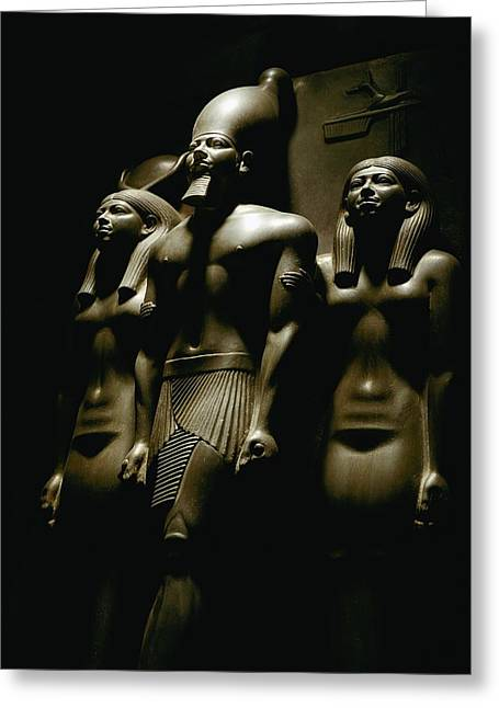 Dynasty Greeting Cards - A Statue Of Pharoh Menkaura Greeting Card by Kenneth Garrett