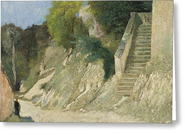 A Steep Ascent In Montigny-sur-loing Greeting Card by Carl Fredrik Hill