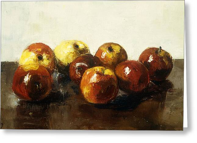 A Still Life Of Apples Greeting Card