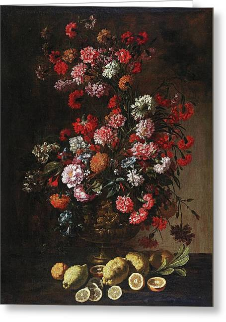 A Still Life Of Citrus Fruit And Flowers In An Elaborately Decorated And Gilded Vase, Greeting Card