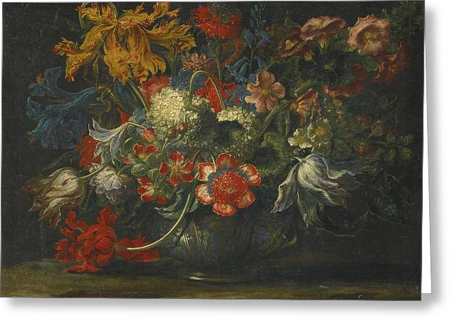 A Still Life Of Flowers In A Blue-and-white Porcelain Bowl Greeting Card