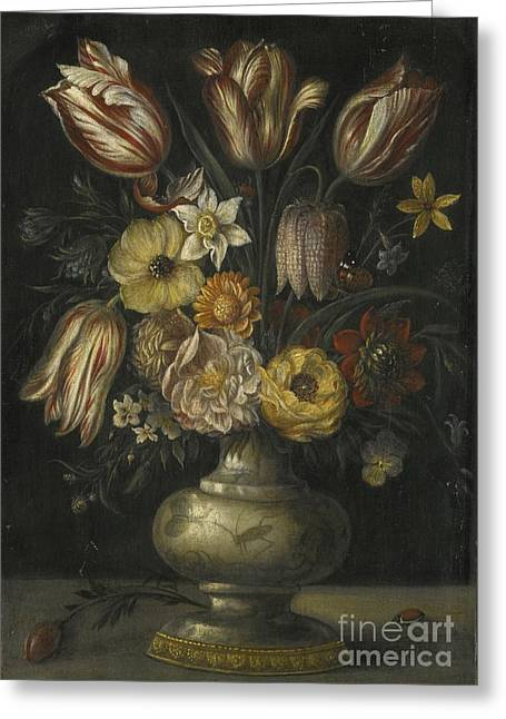A Still Life Of Tulips And Peonies Greeting Card