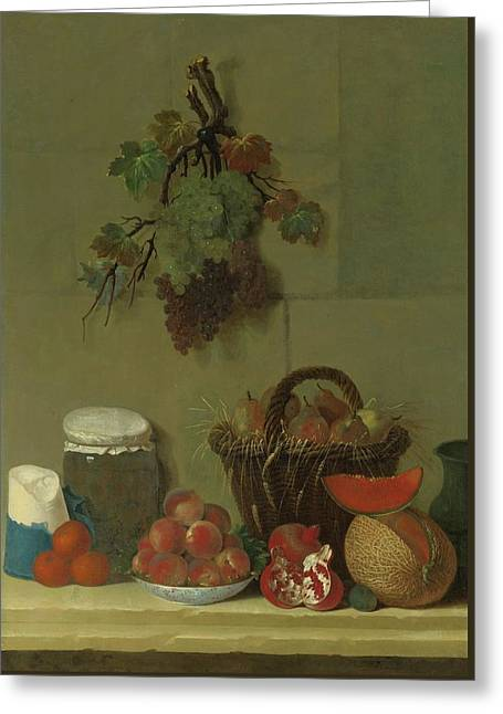 A Still Life With A Wheat Lined Basket Of Pears Greeting Card
