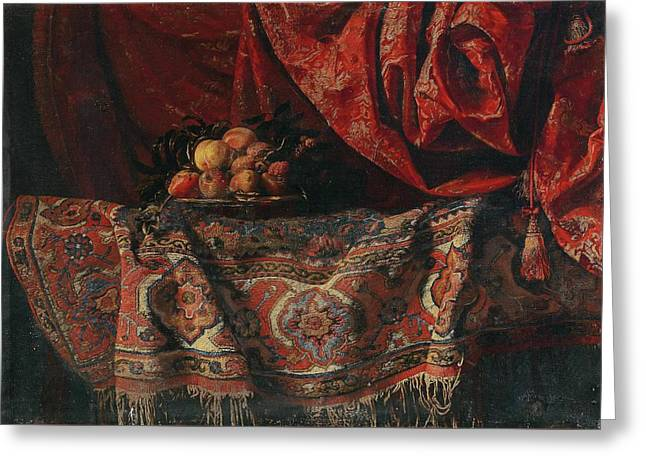 A Still Life With Fruit On A Carpet Greeting Card