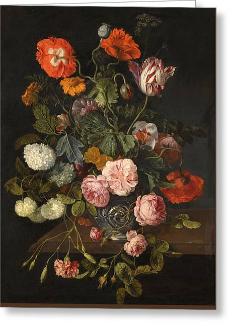 A Still Life With Parrot Tulips Poppies Roses Snow Balls And Other Flowers In A Glass Vase Over A St Greeting Card by Cornelis Kick