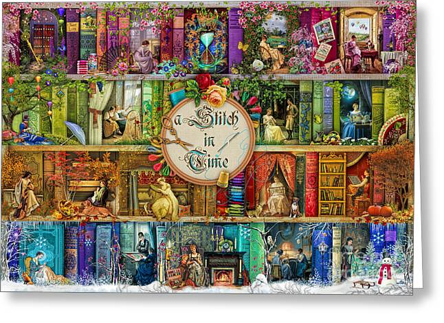 A Stitch In Time Greeting Card by Aimee Stewart