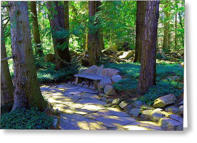 A Stone Bench Greeting Card by Jeff Swan
