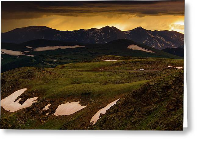 Greeting Card featuring the photograph A Stormy Alpine Sunset by John De Bord