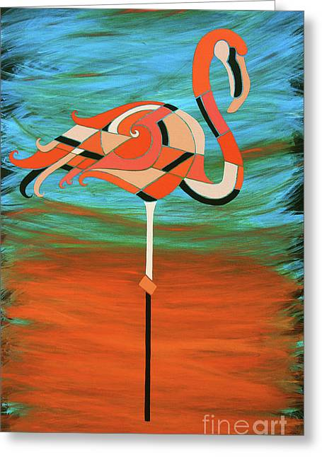 A Straight Up Flamingo Greeting Card