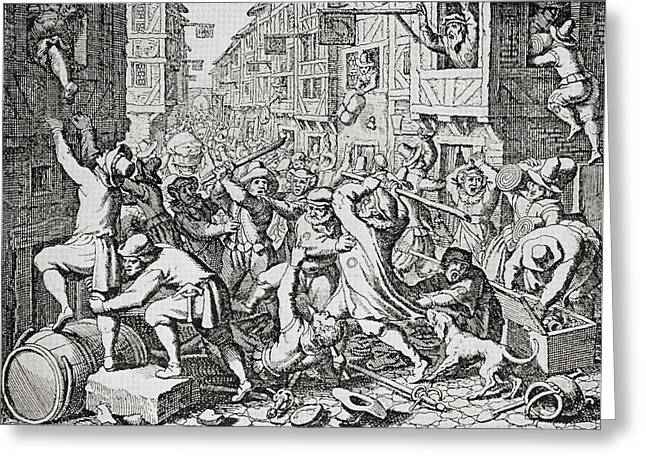 A Street Brawl In London, England In Greeting Card by Vintage Design Pics