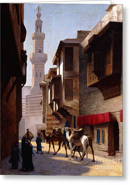 A Street In Cairo Greeting Card by Jean Leon Gerome