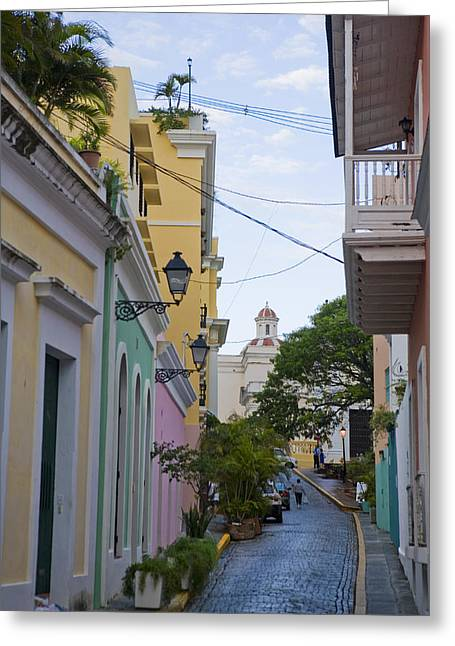 A Street In Colorful Old San Juan Greeting Card by Taylor S. Kennedy