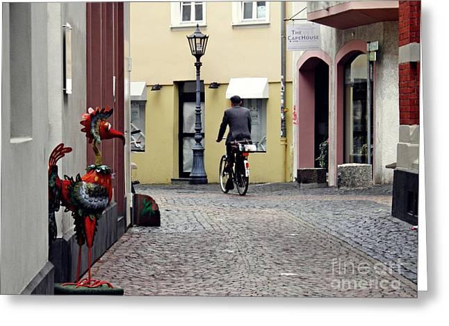 A Street In Mainz Greeting Card by Sarah Loft