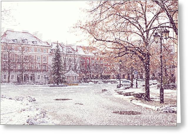 Greeting Card featuring the photograph A Street In Warsaw, Poland On A Snowy Day by Juli Scalzi