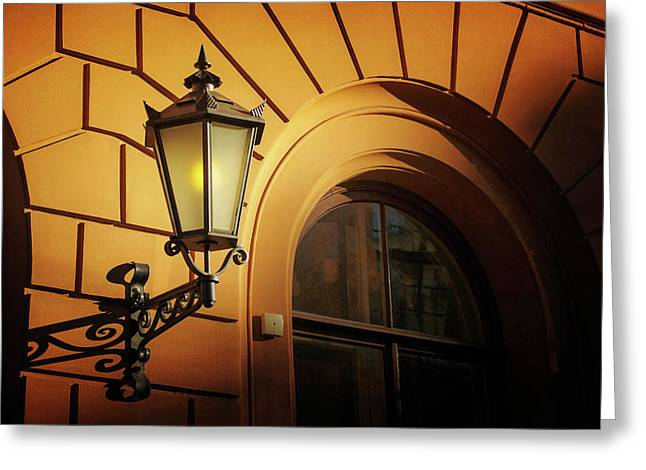 A Street Lamp In Lisbon Portugal  Greeting Card by Carol Japp