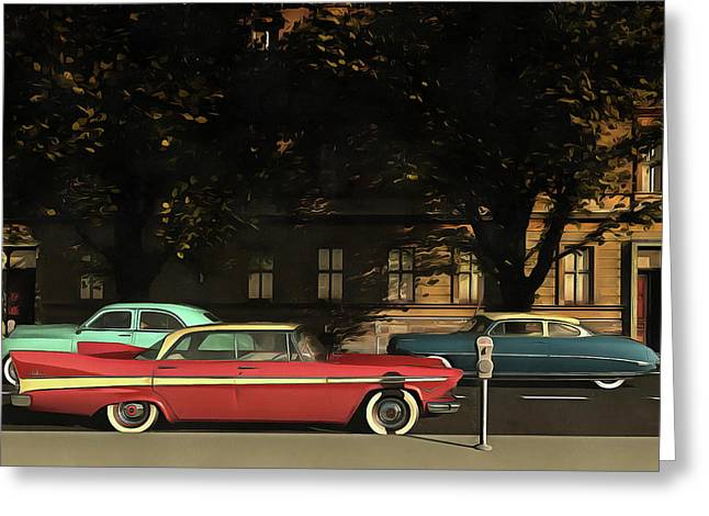 A Street With Oldtimers Greeting Card