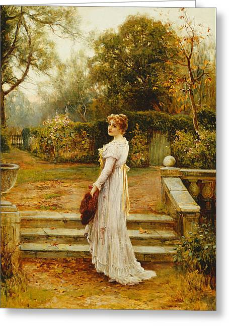 A Stroll In The Garden Greeting Card by Ernest Walbourn