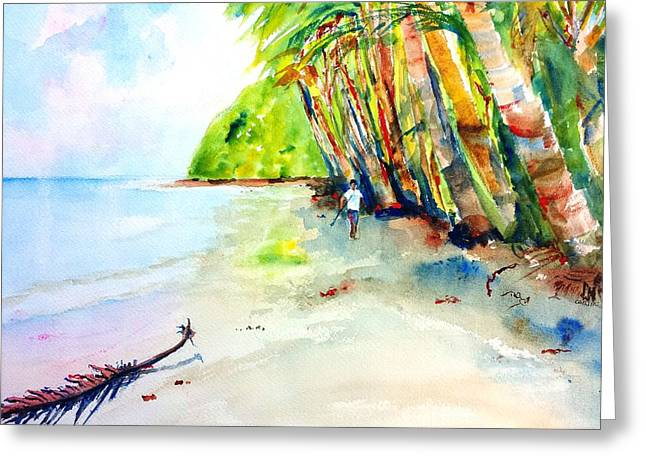 A Stroll On Batibou Beach Dominica Greeting Card by Carlin Blahnik
