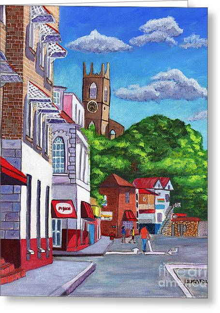 A Stroll On Melville Street Greeting Card by Laura Forde