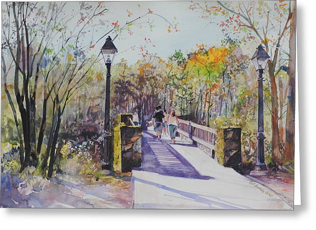A Stroll On The Bridge Greeting Card