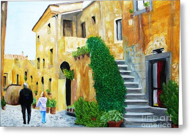 A Stroll With Papa In Italy Greeting Card by Nathan Rodholm