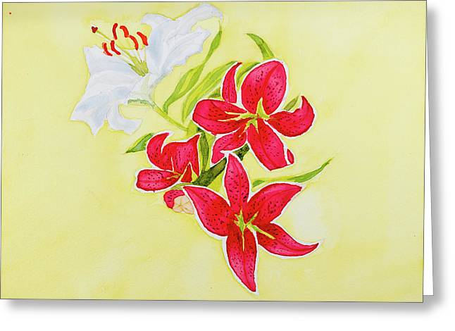 A Study Of Lilies Greeting Card
