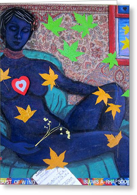 Woman Tapestries - Textiles Greeting Cards - A sudden gust of wind blows a rhapsody in blue Greeting Card by Susan Stewart