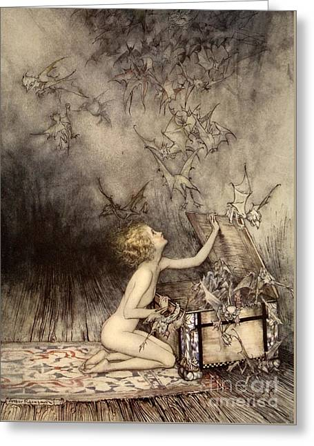 A Sudden Swarm Of Winged Creatures Brushed Past Her Greeting Card by Arthur Rackham