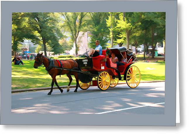 A Summer Carriage Ride Greeting Card by Allen Beatty