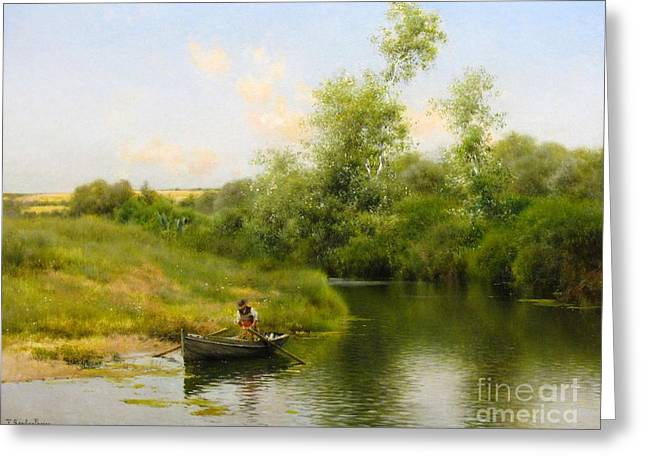 A Summer Day On The River Greeting Card by MotionAge Designs