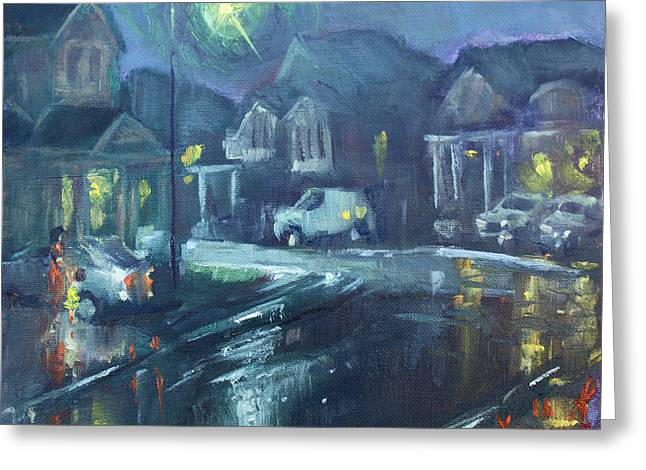 A Summer Rainy Night Greeting Card