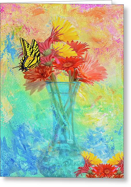 Greeting Card featuring the digital art A Summer Time Bouquet by Diane Schuster