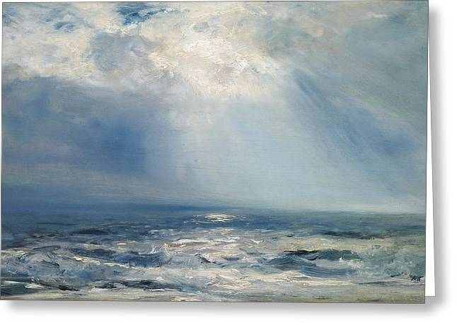 Deep Blue Sea Greeting Cards - A Sunbeam over the Sea Greeting Card by Henry Moore