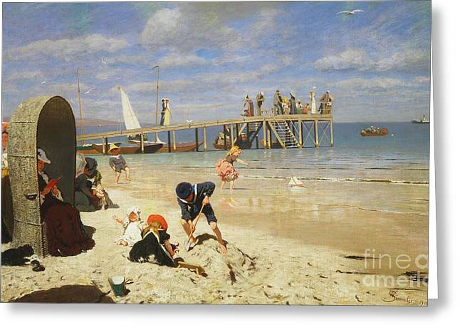A Sunny Day At The Beach Greeting Card by Wilhelm Simmler