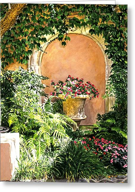 Patio Decor Greeting Cards - A Sunny Nook Hotel Bel - Air Greeting Card by David Lloyd Glover