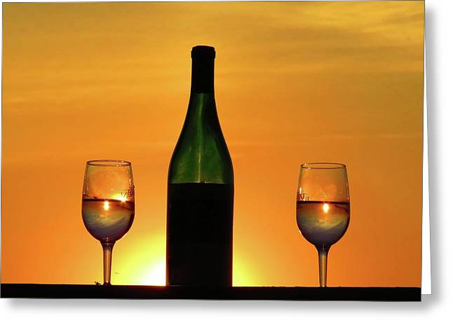 A Sunset In Each Glass Greeting Card
