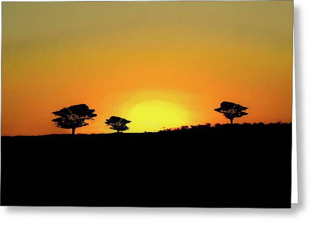 A Sunset In Namibia Greeting Card by Ernie Echols