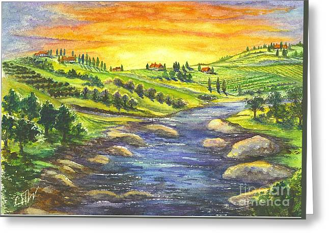 Greeting Card featuring the painting A Sunset In Wine Country by Carol Wisniewski