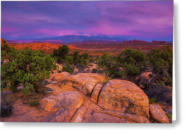 A Sunset Over Arches Greeting Card