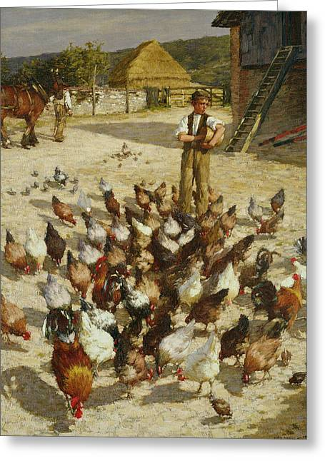 A Sussex Farm Greeting Card by Henry Herbert La Thangue