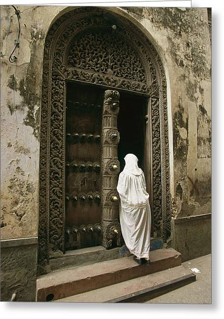 A Swahili Woman Enters A Building Greeting Card by Michael S. Lewis