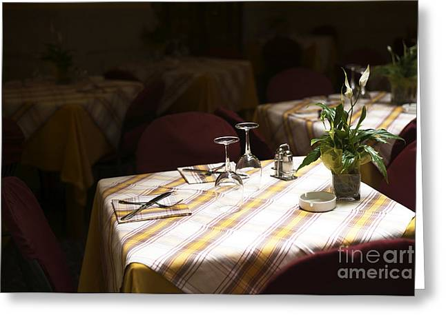 A Table Is Waiting In Sorrento Greeting Card by John Rizzuto