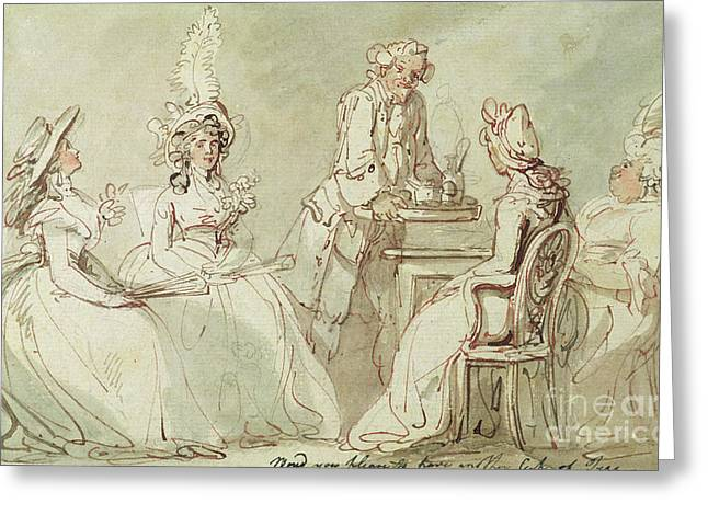 A Tea Party Greeting Card by Thomas Rowlandson