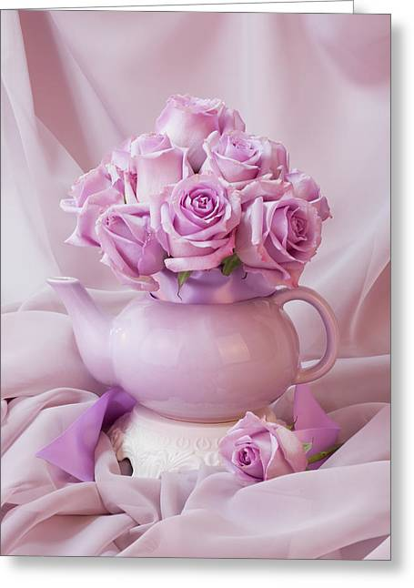 A Tea Pot Of Lavender Pink Roses  Greeting Card
