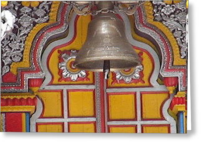 A Temple Bell Greeting Card by Anand Swaroop Manchiraju