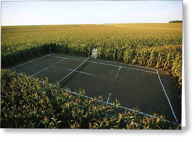 Farmers And Farming Greeting Cards - A Tennis Court Carved From A Corn Field Greeting Card by Joel Sartore