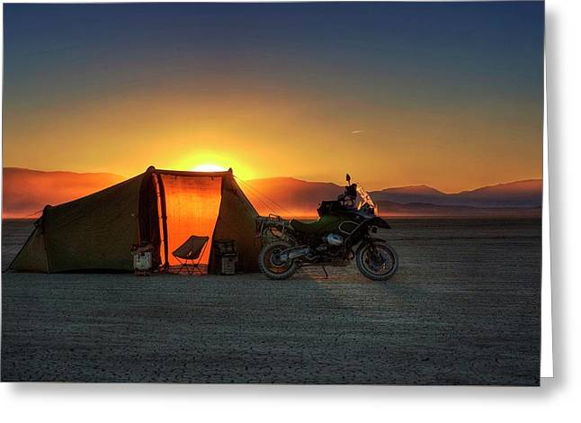 Greeting Card featuring the photograph A Tent, A Motorcycle, And A Sunset On The Playa by Peter Thoeny