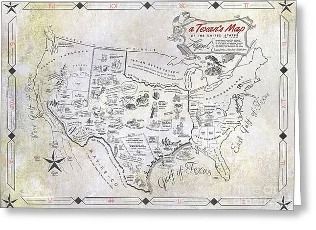 A Texan's Map Greeting Card by Jon Neidert