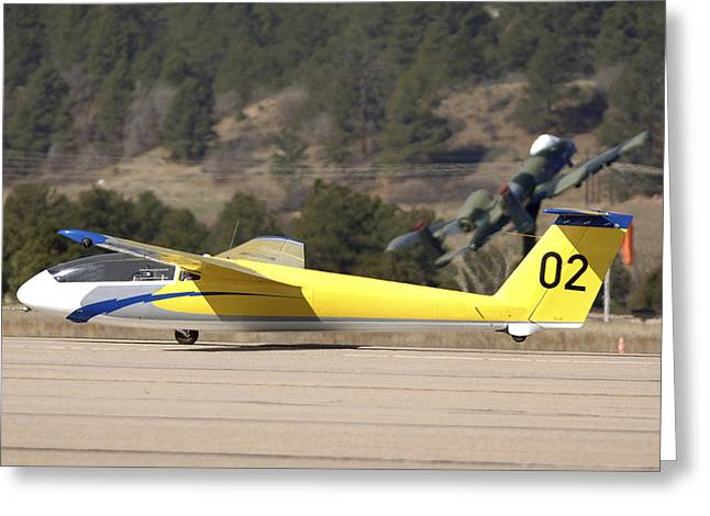 Airbase Greeting Cards - A Tg-10b Glider Lifts Into The Air Greeting Card by Stocktrek Images
